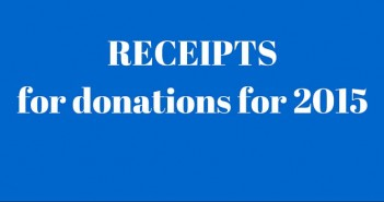 RECEIPTS for donations for 2015